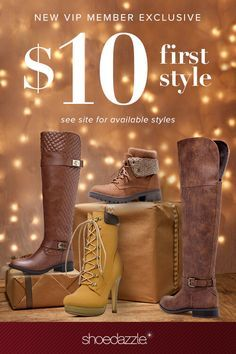 For a Limited Time Get Your First Style Starting At $10 when you become a Shoedazzle VIP! As a VIP, you'll enjoy a new boutique of personalized styles each month, as well as exclusive pricing, early access to sales & free shipping on orders over $39. Don't think you'll need something new every month? No problem – click 'Skip The Month' in your account by the 5th and you won't be charged. But this deal won't last forever! Take the Style Profile Quiz today to get this exclusive offer.