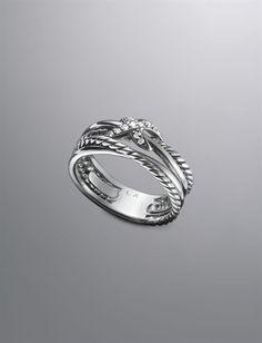 David Yurman Pave Diamond Crossover X Ring.  Gorgeous and simple design.