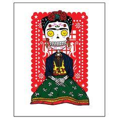 Frida Calavera Archival Art Print 8 x 10 by MisNopalesArt on Etsy