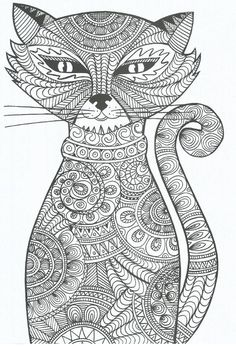coloring for adults - kleuren voor volwassenen ~ Enjoy everything about #cats - Get the latest Ozzi Cat Magazine! Click here >> http://OzziCat.com.au/issues