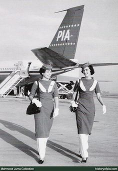 PIA Air-Hostesses wearing uniform designed by Feroze Cowasji