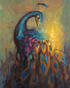 Peacock Wall Art, Peacock Painting, Mirror Painting, Fantasy Paintings, Animal Paintings, Jamel, Bird Art, Figurative Art, Painting Inspiration