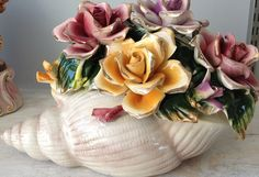 Capodimonte Style Sea Shell Flower Basket