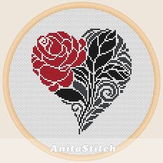 Valentine flower - Cross stitch pattern, You can create really unique styles for materials with cross stitch. Cross stitch types will very nearly amaze you. Cross stitch newcomers can make the types they desire without difficulty. Mermaid Cross Stitch, Cross Stitch Heart, Beaded Cross Stitch, Crochet Cross, Cross Stitch Flowers, Cross Stitch Embroidery, Hand Embroidery, Embroidery Patterns, Modern Cross Stitch Patterns