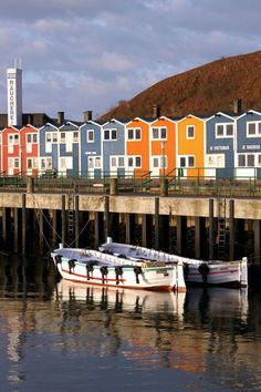 Traditional boats and fishermen's houses, Helgoland Archipelago, north Germany