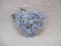 Felt Flower Brooch Blue Hydrangea Pin Beaded Wool Felted Pin