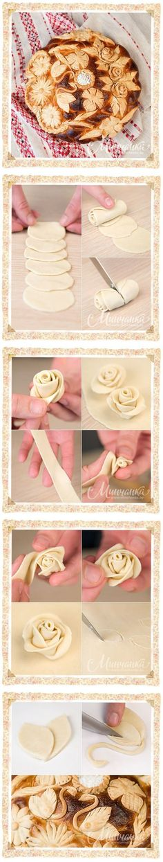 Easy way to make fondant roses. Decoration Patisserie, Food Decoration, Cake Cookies, Cupcake Cakes, Bundt Cakes, Just Desserts, Dessert Recipes, Pie Recipes, Pie Crust Designs