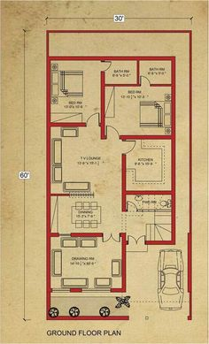 Home Design Drawing house floor marla house plan in bahria town lahore-architecture-design - 5 Marla House Plan, 2bhk House Plan, Simple House Plans, House Layout Plans, Duplex House Plans, House Plans One Story, Model House Plan, Story House, The Plan