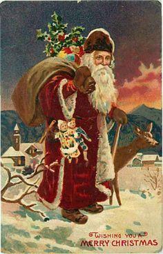 Embossed Christmas Postcard Santa Claus in Deep Red Suit w Dolls | eBay