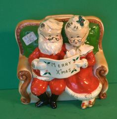 Vintage C1950-1960 Mr. Mrs. Santa Clause Sitting on Couch w/list Bank | eBay