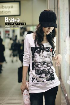 Korean Style Characteristic Print Leisure T-Shirt with Long Sleeve - White - $34.74