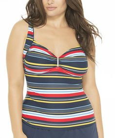 Look at this #zulilyfind! Navy & Red Stripe Sweetheart Tankini - Plus #zulilyfinds