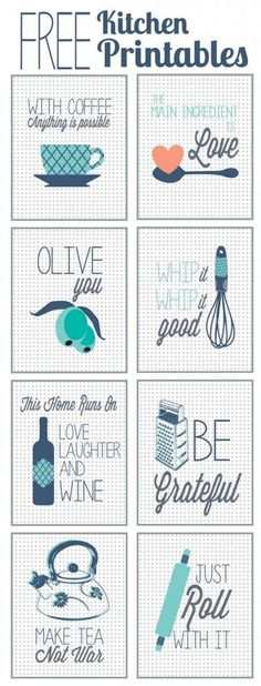 Free Kitchen Printables. I love that these make me think of pegboard. My backsplash idea.