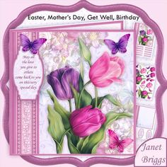 PINK TULIPS 7.5 Decoupage Mini Kit All Occasions by Janet Briggs 3 sheet mini kit with 3d step by step decoupage.  Topper is approximately 7.5 inch or can be reduced in size for smaller cards.  Suitable for many occasions, birthday, thank you, get well, Mother's Day, Easter  etc.  Features beautiful painted tulips and butterflies, with a choice of dangly verses and sentiments.  Kit includes, 1. Topper & sentiment tags 2. Decoupage  3. Insert & Verses.  Several sentiment tags, including one…