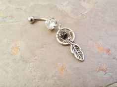Small Dream Catcher Onyx Belly Button Ring