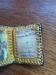 Antique Catholic Relic Saint Theresa Wood From Room Of Her Birth Rare