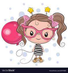 Cute Girl with pink glasses. Cute Cartoon Girl with pink glasses and balloon stock illustration Cartoon Cartoon, Cute Cartoon Girl, Cartoon Characters, Cartoon Drawings, Unicorn Outline, Owl Vector, Cute Dragons, Disney Tattoos, Portfolio