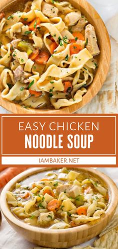 This homemade recipe for Chicken Noodle Soup is a keeper! Not only is it easy, but you can customize it to suit your tastes. Simple ingredients come together to create the ultimate comfort food your family will love in the cold months! Save this dinner menu idea! Crockpot Recipes, Soup Recipes, Chicken Recipes, Dinner Recipes, Recipies, Homemade Egg Noodles, Cozy Meals, Dinner Menu, Dinner Ideas