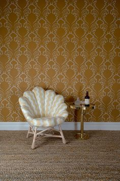The Upholstered Venus Chair, The Carafe Table and Pineapple Frond Wallpaper by Soane Britain. Pineapple Wallpaper, Interior Design Presentation, Fern Frond, Hand Printed Fabric, Drink Table, One Color, Colour, Take A Seat, Furniture Making