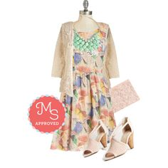 In this outfit: Yea or Nature Dress, Graced by Lace Cardigan, At the Last Minute Neckace in Mint, Chic to Chic Clutch, Gamble Heel in Blush #prints #dresses #summer #cute #ModCloth #ModStylist #ootd #fashion