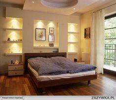 Znalezione obrazy dla zapytania sypialnia półki nad łóżkiem