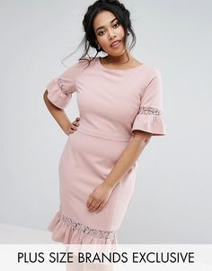 $83.00 via ASOS.com (March 21) | Paper Dolls Plus Pencil Dress With Fluted Sleeve And Peplum Dress. PLUS SIZE option.