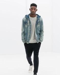 Image 2 of COMBINED DENIM VELOUR JACKET WITH POUCH POCKET from Zara