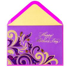 Add a little sparkle to Mother's Day with this gorgeous card. Glittering gold and flocked purple flourishes are accented with gems that your mom is sure to adore.
