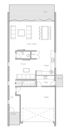 Modern Contemporary Home Plan to narrow lot. Modern House Plan to Modern Family. Home Design Plans, Plan Design, Modern Family, Modern House Design, Modern Minimalist, Living Area, Small Spaces, House Plans, Floor Plans