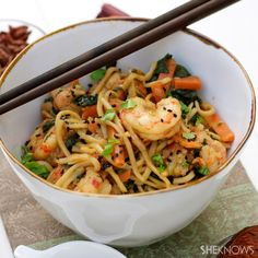 Stir-fry noodles with shrimp and vegetables from @Rowena Dumlao Giardina | Apron and Sneakers