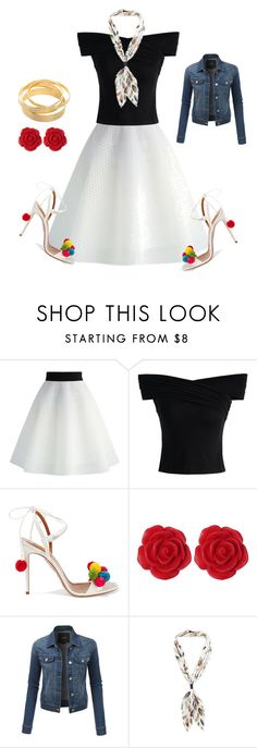 """""""Summer 2 Fall"""" by ellenfischerbeauty ❤ liked on Polyvore featuring Chicwish, Aquazzura, Dollydagger and LE3NO"""