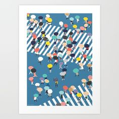 Crossing The Street On a Rainy Day - Blue - $20