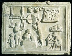 Relief depicting the interior of a forge (stone), Roman, (2nd century AD) / Museo della Civilta Romana, Rome, Italy / Giraudon / The Bridgeman Art Library