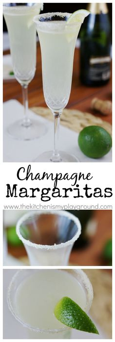 Champagne Margaritas ~ Ring in the new year with the wonderful flavors of champagne and Margaritas in one fun cocktail. www.thekitchenismyplayground.com