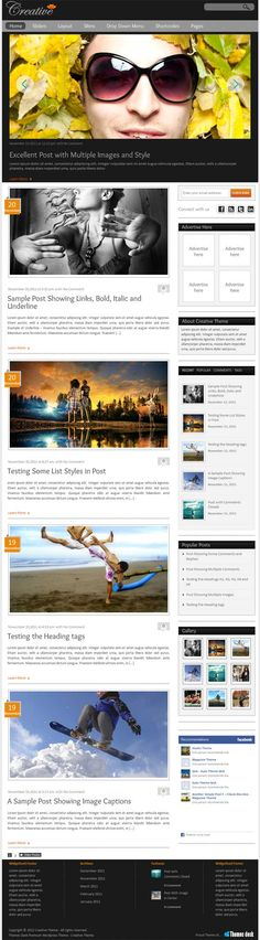 Themes Desk have released a new magazine style premium WordPress theme called Creative WP Theme