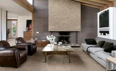 Evergrau Coloured Porcelain Tiles From Our Everstone Series Suit This Living  Room Turned Home Theatre Stylishly