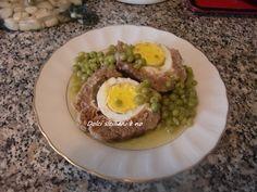Polpettoni di macinato di Carne di Vitello con Piselli. Ricetta. Ingredienti: 600gr di macinato di Vitello di 1° taglio, un uovo, 100gr di pangra