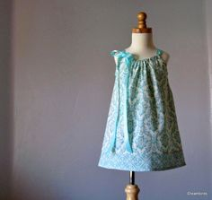 Little Girls Pillowcase Dress - Aqua and Cream Damask - Available in Sizes 18 Months, 2T, 3T, 4T, 5, 6, 8, 10