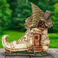Solar Old Lady Shoe Fairy House - Light Up Fairy Cottage - Fairy Garden Supply - Solar Powered Solar Fairy House, Fairy Garden Houses, Miniature Fairy Gardens, Miniature Houses, Fairy Land, Fairy Tales, Old Lady Shoes, Fairy Village, Fairy Garden Supplies