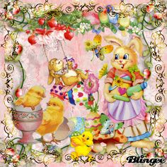 My Easter Art    Spring Bunnies and Colored Eggs  GIF