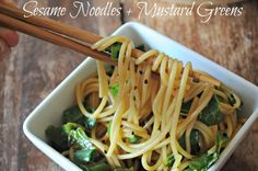 The sharp taste of Mustard Greens combined with the smooth taste of sesame seeds. Maybe I'll add buckwheat or whole wheat noodles. Vegetarian Recipes, Cooking Recipes, Healthy Recipes, Simple Sesame Noodles, Sauteed Greens, Good Food, Yummy Food, Mustard Greens, Other Recipes