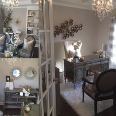 My office, designed and styled by me. The color scheme I went with is gray and metallic gold, with a touch of black. I spend a lot of time in this space, it was important that it gave a sense of glam elegance which is my style as you all know Tap for sour Gold Home Decor, Green Home Decor, Easy Home Decor, Home Office Decor, Cheap Home Decor, Diy Room Decor, Wall Decor, Inspire Me Home Decor, Ikea Home