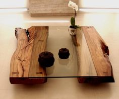 log and glass cocktail table