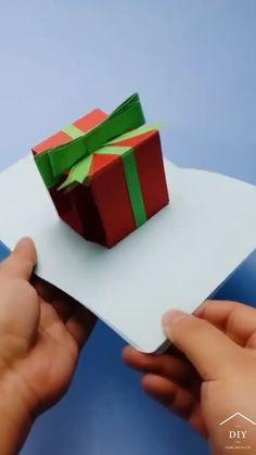 Diy Crafts Hacks, Diy Crafts For Gifts, Diy Crafts Videos, Cool Paper Crafts, Paper Crafts Origami, Diy Paper, Instruções Origami, Christmas Card Crafts, Diy Cards
