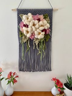 Floral Bouquet Wall Hanging flower art statement piece girl nursery decor entryway decor macrame wall hanging birthday gifts for women Weaving Wall Hanging, Weaving Art, Loom Weaving, Tapestry Weaving, Birthday Gifts For Girls, Art Birthday, Tear, Floral Bouquets, Nursery Decor