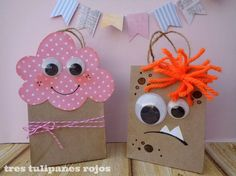 Cloud and Monster packaging Paper Bag Crafts, Paper Gift Bags, Creative Gift Wrapping, Creative Gifts, Craft Gifts, Diy Gifts, Papier Kind, Diy And Crafts, Crafts For Kids