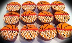 Basketball Cupcakes, Basketball Birthday Parties, Basketball Decorations, Cupcake Cookies, Sugar Cookies, Cookies Et Biscuits, Cupcakes Kids, Cupcake Cupcake, Fondant Cupcakes