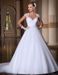 Elegant Sweetheart Beading Short Sleeves Ball Gown Court Train Wedding Dresses 2017 Robe De Mariage Vestidos De Noiva Trouwjurk
