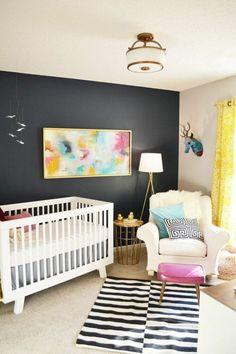 Babyzimmer Gestalten Akzentwand In Schwarz