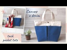 Pocket, Tote Bag, Canvas, Youtube, Baby, Tutorials, Bags, Fabric Bags, Tela